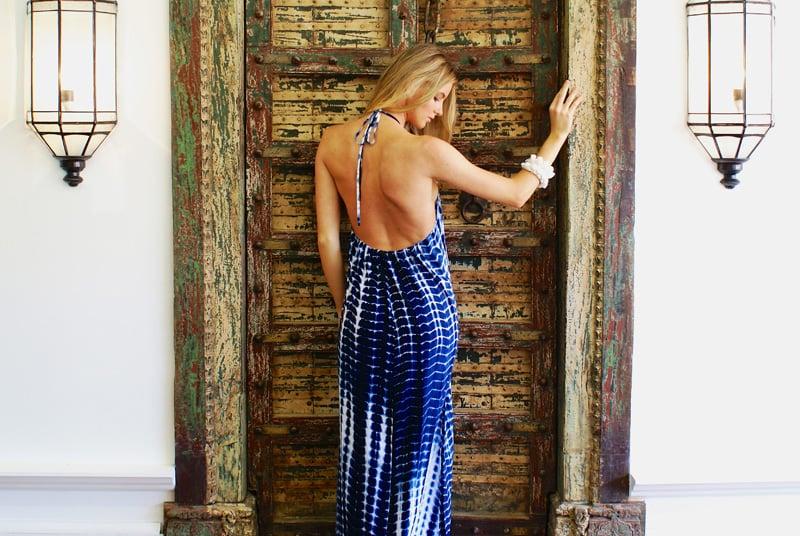 Image of Sundown Maxi Dress Blue Tie-Dye