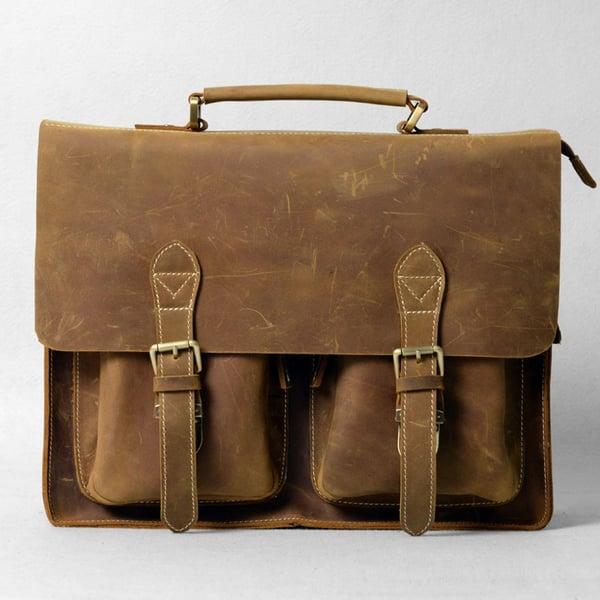 """Image of Vintage Handmade Crazy Horse Leather Briefcase Messenger 14"""" 15"""" Laptop 13"""" 15"""" MacBook Bag (n67-9)"""