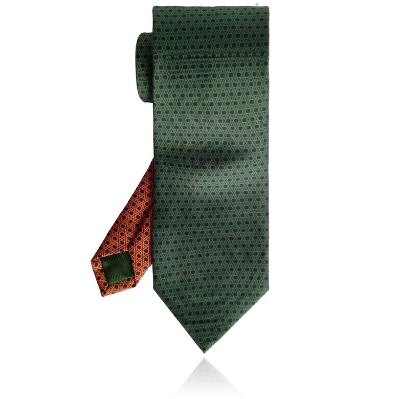 Image of Monogram Tie: Green | Orange