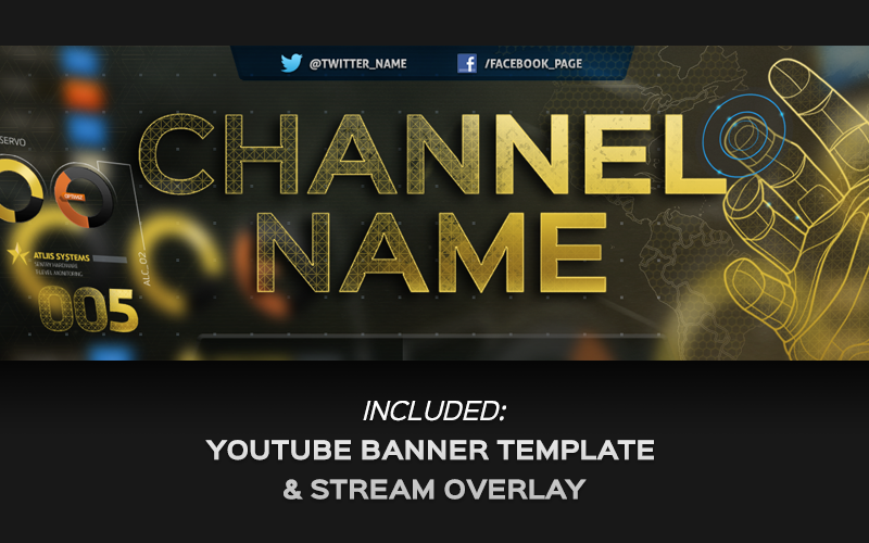 "Image of ""Exo"" YouTube Premium Banner & Overlay Template"