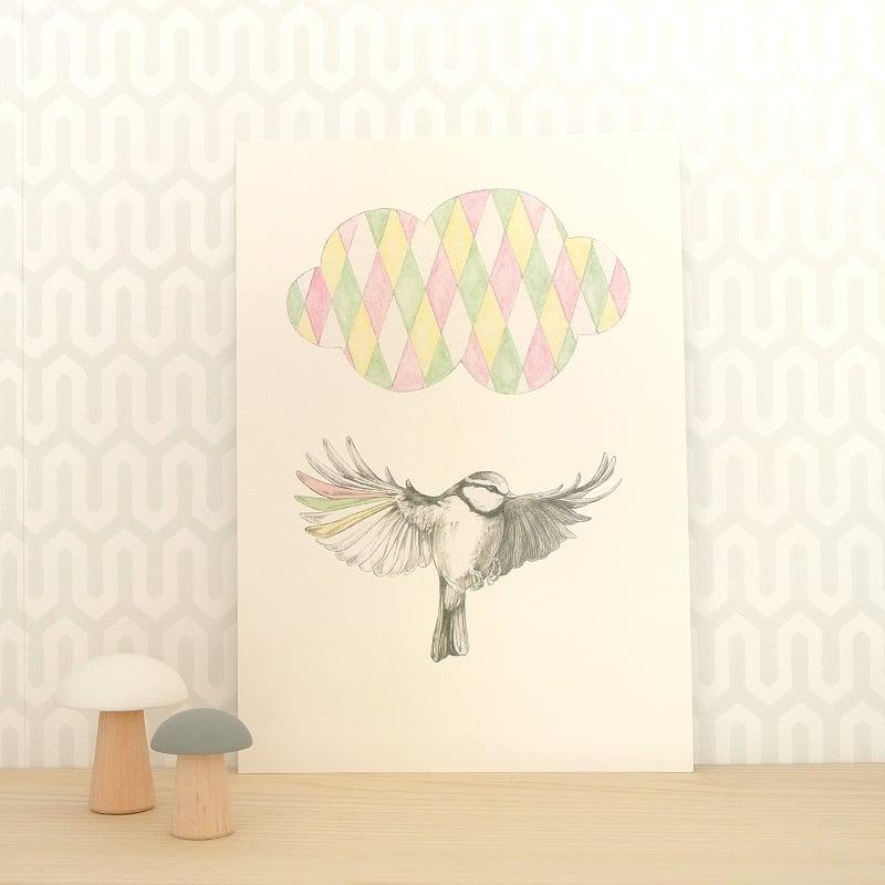 Image of Affichette Oiseau A5
