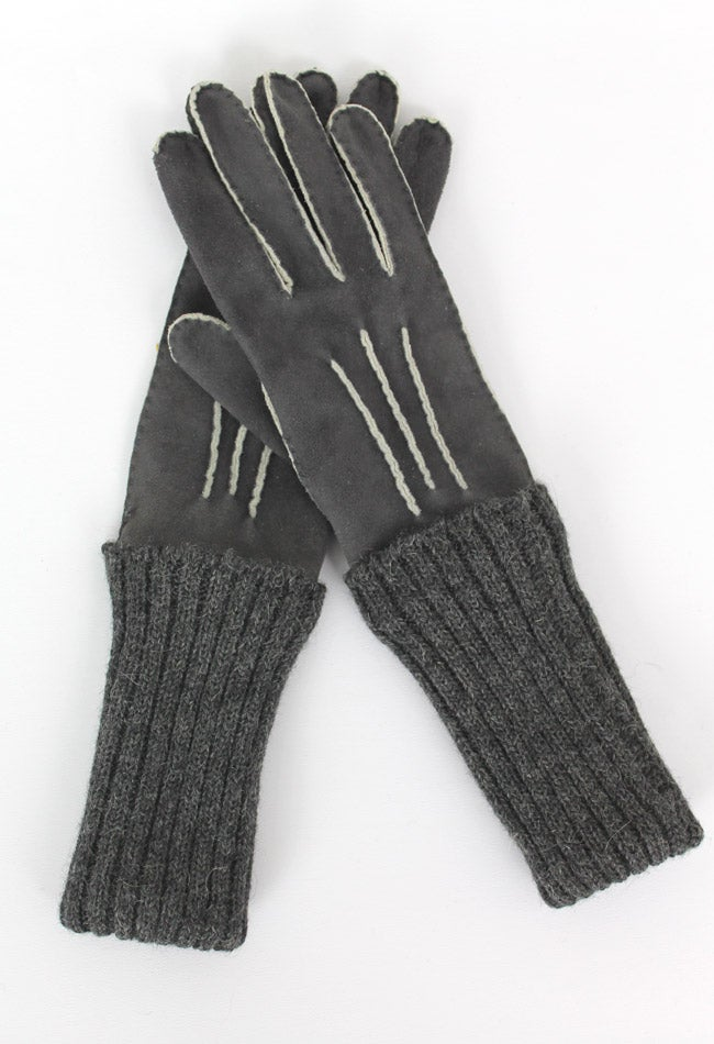 Image of KNIT-SUEDE GLOVES