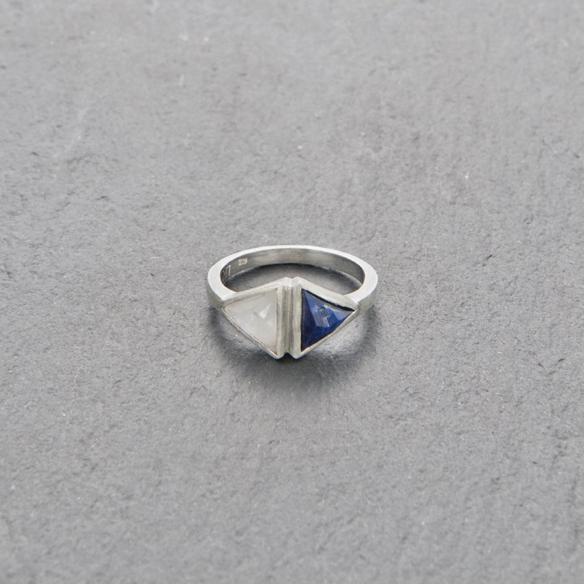 Image of Double Kandy Blue Sapphire Ring Silver