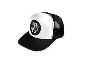 """Image of """"Monogram"""" Trucker Hat, Black/White (P1B-T0521)"""