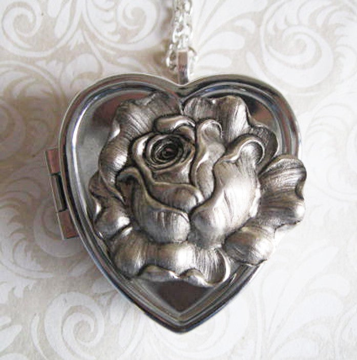 Image of Silver Rose in Bloom Musical Locket