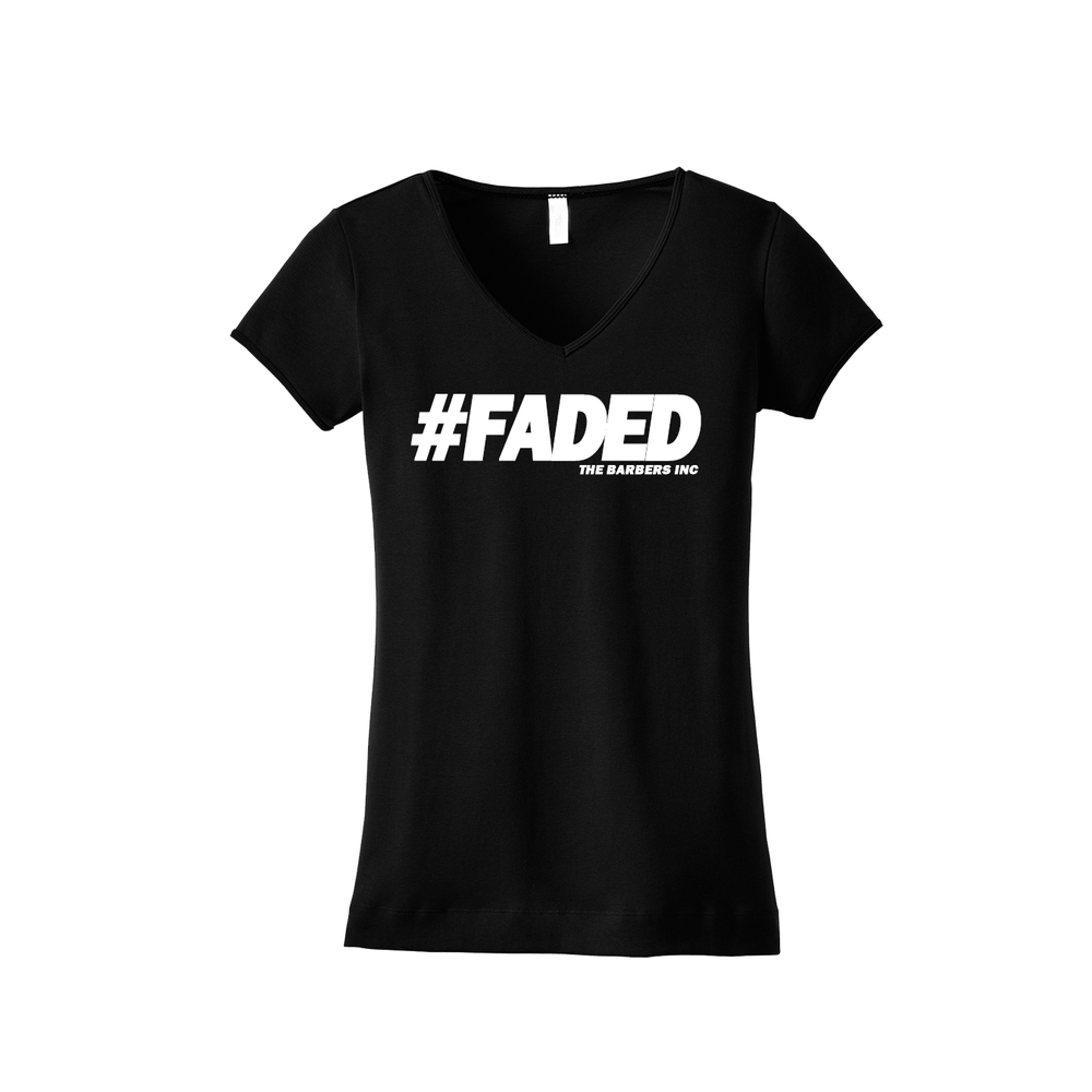 Image of #FADED Womens V-Neck T Shirt BLACK