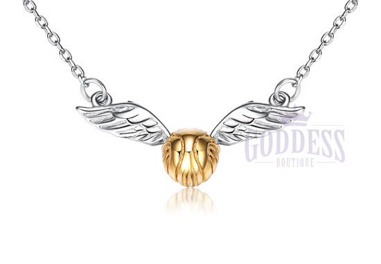 Image of Harry Potter Golden Snitch .925 silver necklace pendant costume Cosplay