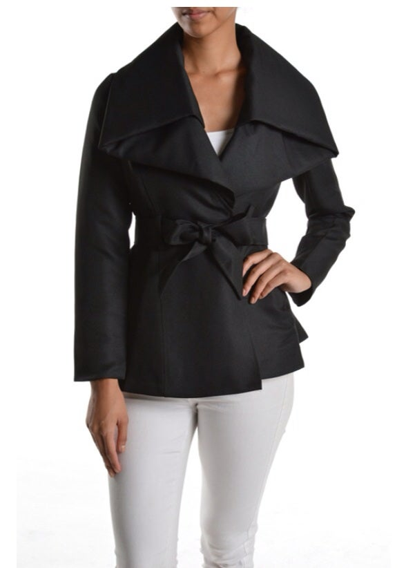 Image of Short black trench jacket