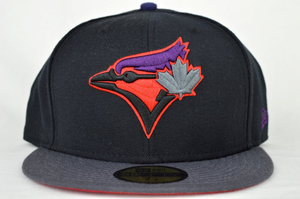 Image of TORONTO BLUE JAYS CUSTOM BLACK, GREY, RED & PURPLE NEW ERA 59FIFTY FITTED CAP