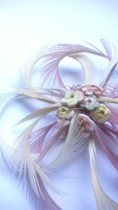 Image of Flower feather Frou Frou (Fascinator) Pinks and creams