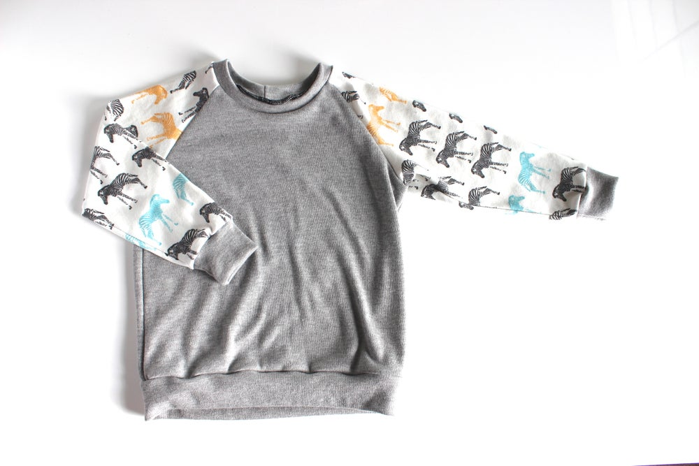 Image of Multi Colored Zebra Sleeves Raglan