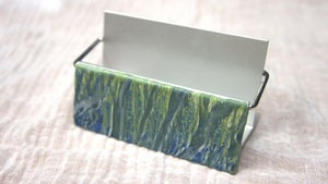 Image of Blue green translucent-veined polymer business card holder (Bryn Collection)