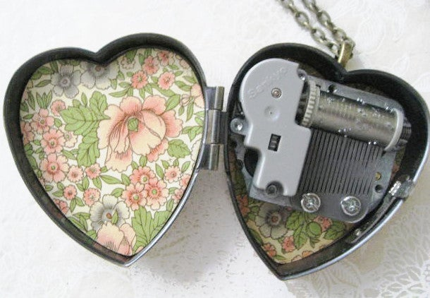 Image of Little Wing Music Box Locket - bronze pink floral