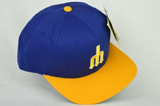 Image of FLORIDA MARLINS BLUE/YELLOW RETRO AMERICAN NEEDLE SNAPBACK CAP