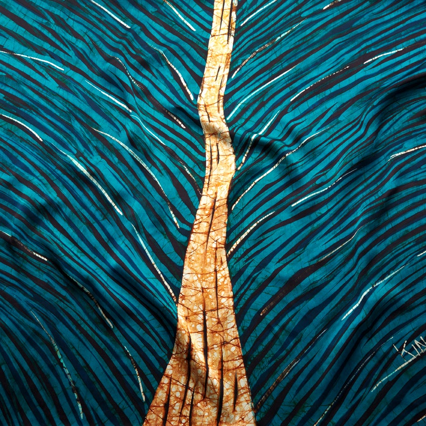 Image of Batik on Silk Foulard Peacock (90 x 90)