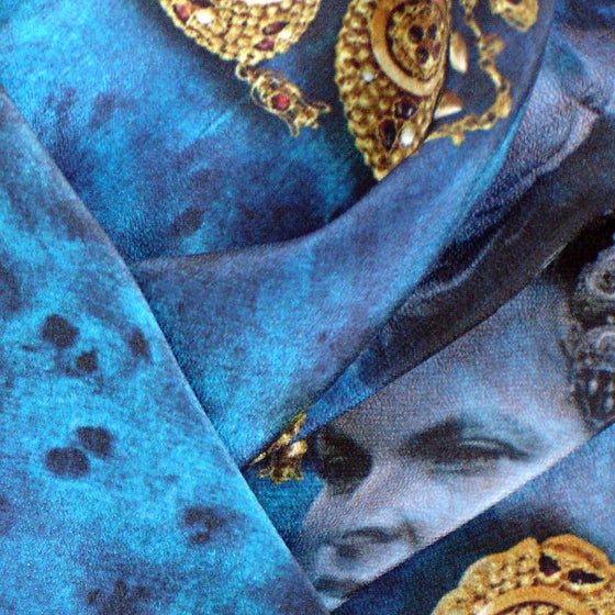Image of Digitally printed silk scarf Costume Ornaments