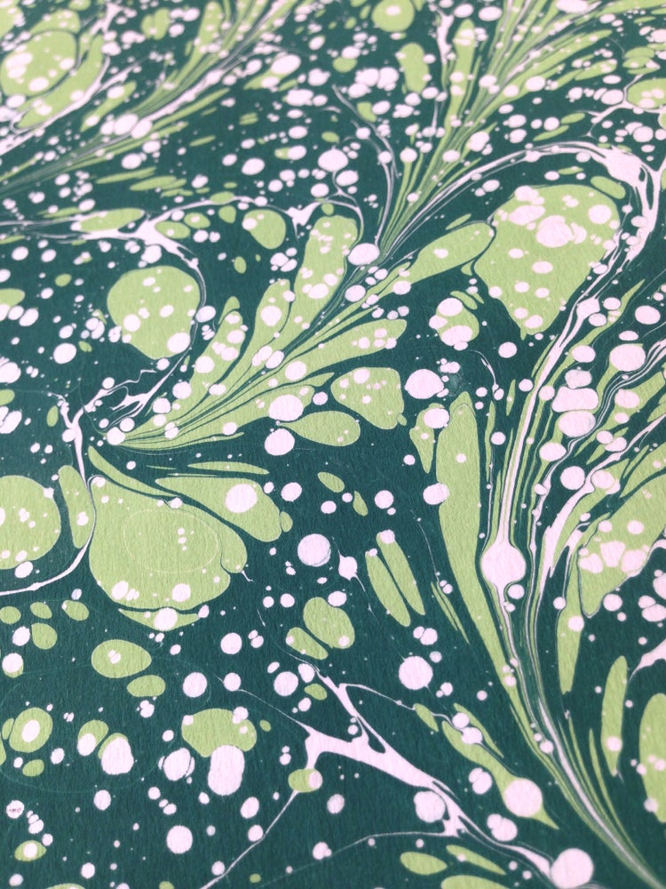 Image of Green 'spruce' hand marbled paper