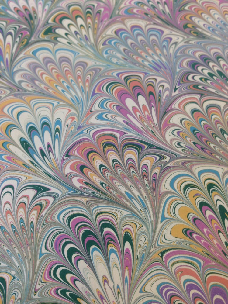 Image of Marbled Paper #42 Pastel Peacock design