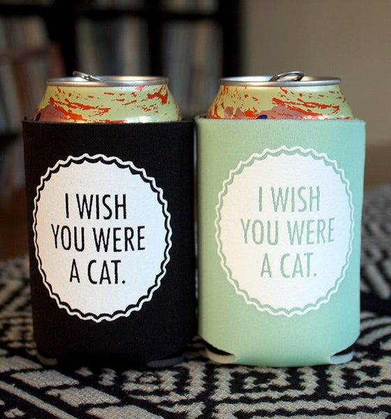 Image of I Wish You Were A Cat- screen-printed can cooler-mint