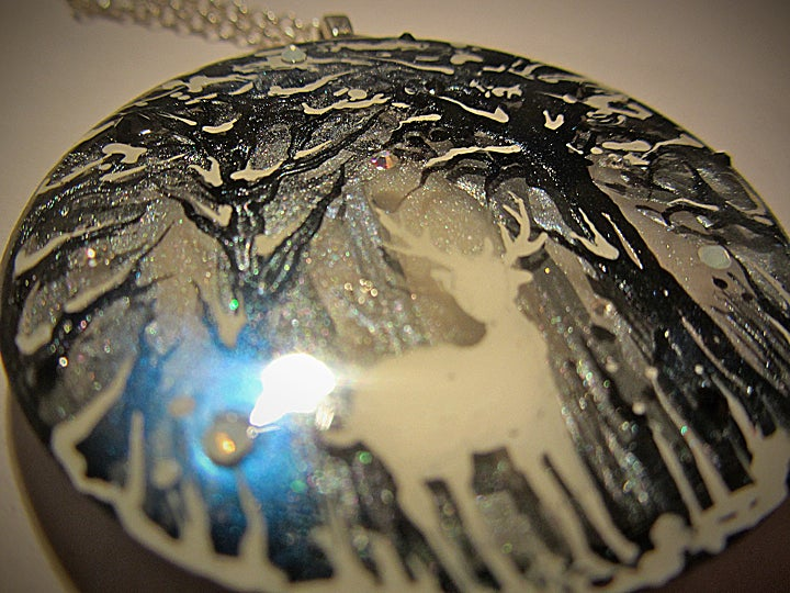 Winter Stag Large Round Resin Pendant