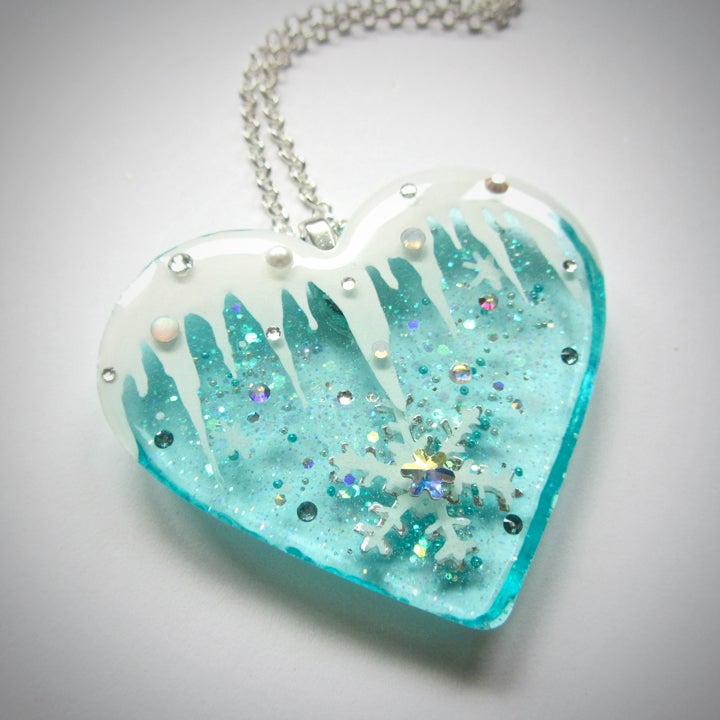 Image of Icicle Frozen Heart Resin Pendant