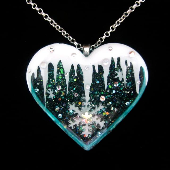 Icicle Frozen Heart Resin Pendant