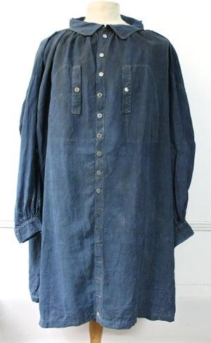 Image of 1900'S FRENCH INDIGO LINEN BIAUDE