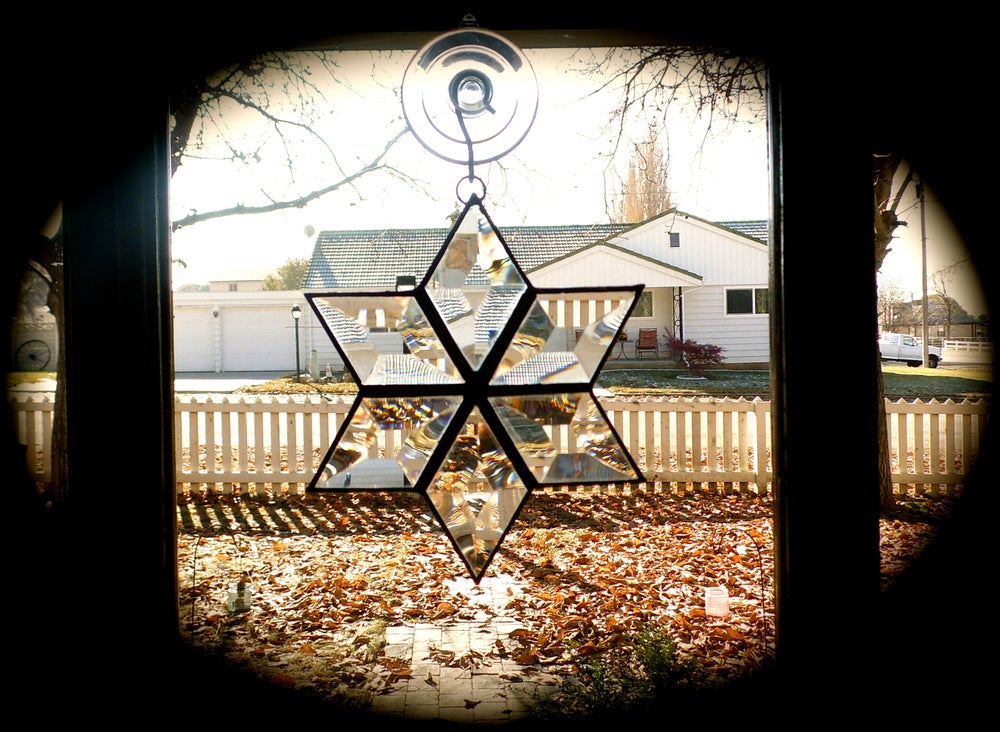 Image of Beveled Snowflake-Christmas stained glass