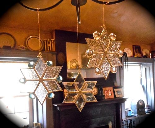Image of Snowflake with cabochons-Christmas stained glass