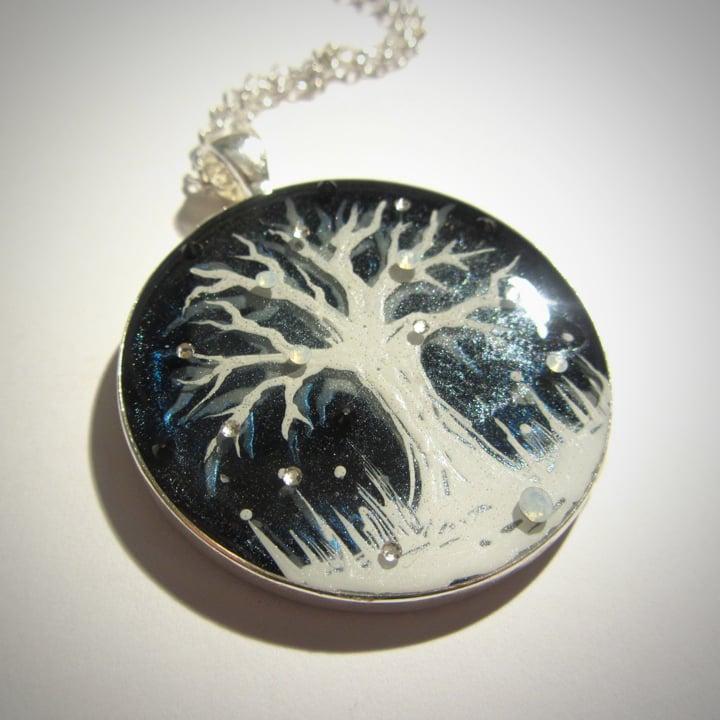 Winter White Tree Black Pendant