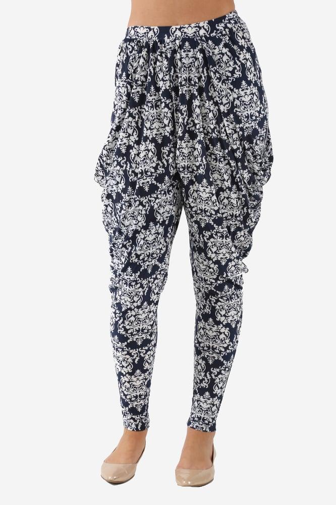 Image of Drape Pants Navy/White