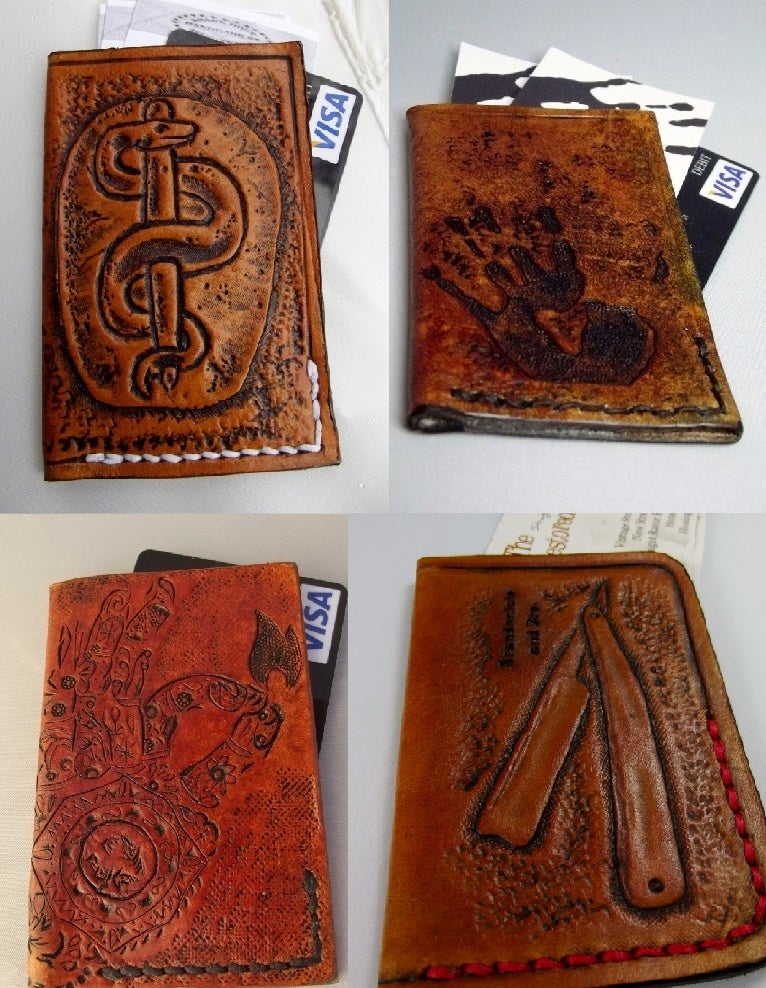 Flaquito leather custom hand tooled leather minimalist front image of custom hand tooled leather minimalist front pocket wallet business card credit card colourmoves