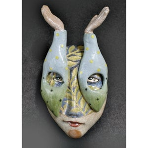 Image of The Sky's the Limit - Mask Sculpture, Ceramic Face Pendant, Original Mask Art