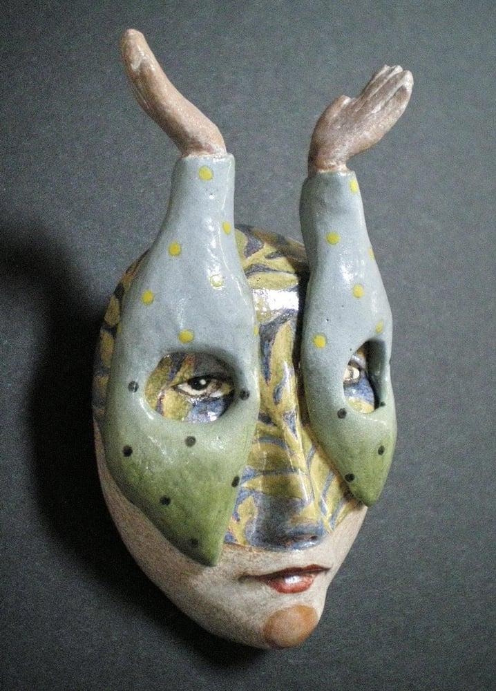 Image of The Sky's the Limit - Mask Sculpture, Ceramic Face Pendant, Original Mask Art