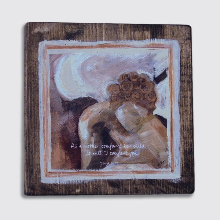 Image of sympathy angel print on wood