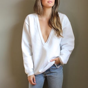 Image of White Deep V Sweatshirt