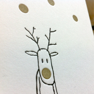 Image of GOLDIE 'RUDOLF' - LETTERPRESS CHRISTMAS CARD