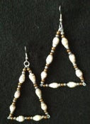 Image of Handcrafted Triangle Dangle Earrings Made with Handcrafted Cream, Beige and Grey Paper Beads