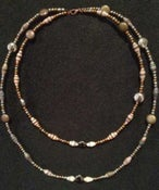 "Image of Handcrafted Drop Necklace Brown, White & Bronze Paper Beads 8"" Drop"