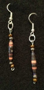 Image of Handcrafted Dangle Earrings Made with Handcrafted Brown, Grey and Bronze Paper Beads