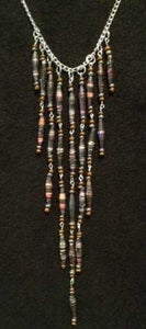 Image of Handcrafted Waterfall Necklace Silver Toned Chain with Multi-Colored Handmade Paper Beads