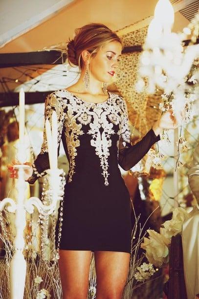 Image of Fashion Metallic embroidery Puff Sleeve Dress PO1017CG