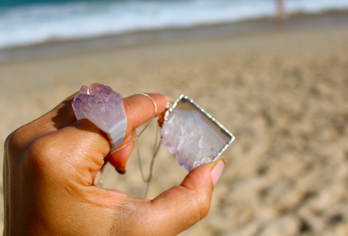 Image of Amethyst Slice - Sterling Silver