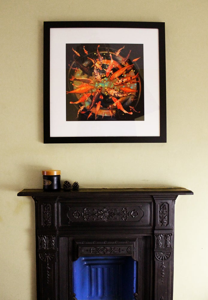Image of Lily Greenwood Signed Giclée Print - Koi on Black/Gold - Limited Edition