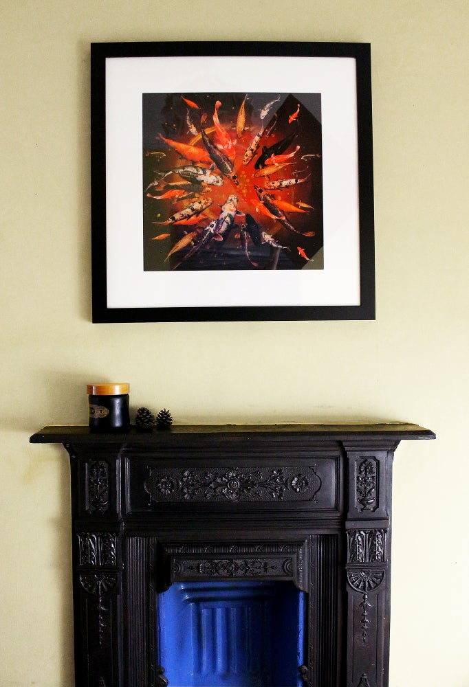 Image of Lily Greenwood Signed Giclée Print - Koi on Red/Gold - Limited Edition