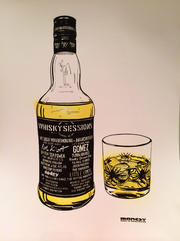 Image of Whisky Sessions at Victoria Warehouse A2 screenprint edition of 100, November 2014