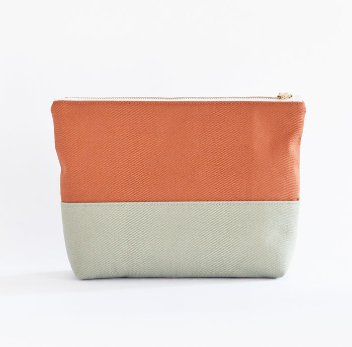 Image of Colorblock Travel Case, Large - Brick & Light Green