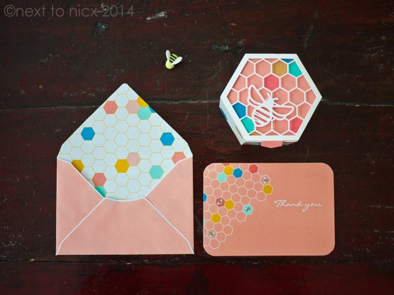Image of Geometric Bee Invitation Suite