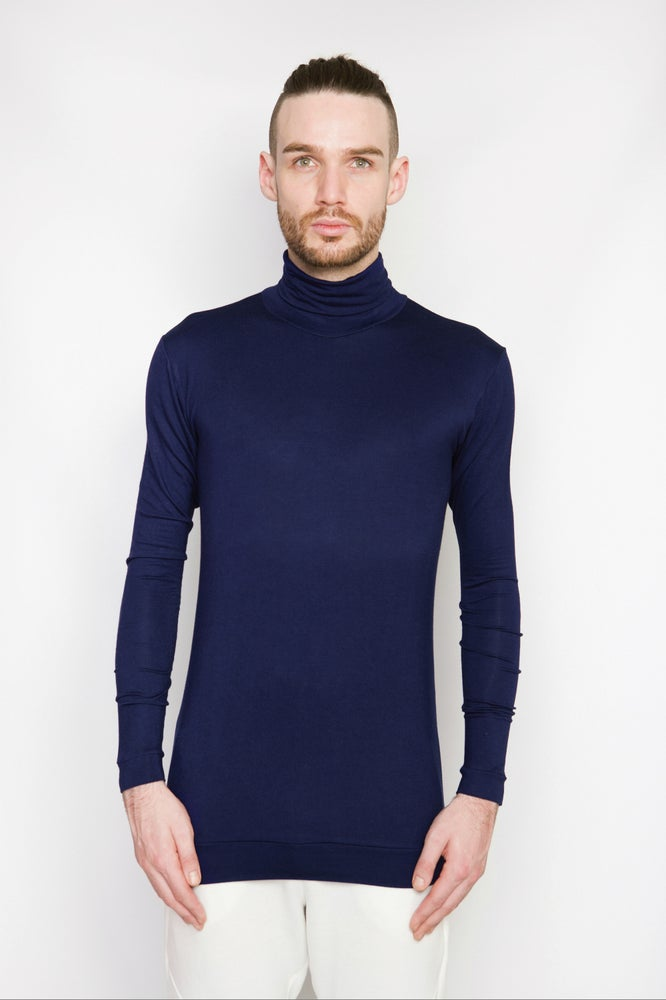 Image of Ⅲ Navy Turtle Neck T-Shirt