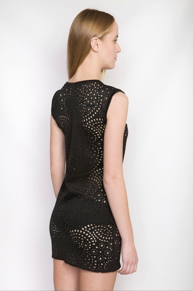 Image of Ⅲ Black Neoprene Pattern Top